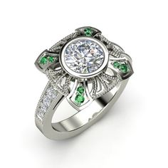 The Sansa Ring, a lot of diamond and a hint of emerald!