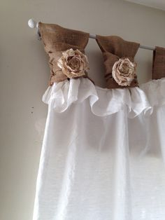 White linen wide ruched tabs curtains Tea by RusticChicTogether, $85.00 Daughters Room