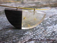 Wood Resin Dandelion Pendant Walnut Wood by NikibarsNatureArt