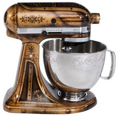 Mix up some brass, copper, and a classic mixer and Bob's your uncle. [Credit: Pintrest]