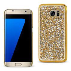 Reiko Samsung Galaxy S7 Edge Diamond Protector Cover Gold With Beauty Glitter Rhinestone