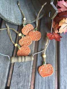 Ceramic Pumpkin Ornament | Pottery Pumpkin charm | Orange Stoneware Pumpkin…