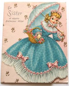 Vintage doll card - birthday