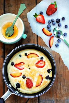 Honey Cloud Pancakes: egg whites and honey whipped up and baked with fruit for a healthier-and tastier-pancake.