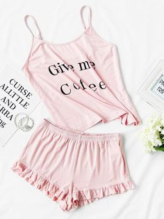 Shop Letter Print Cami And Ruffle Shorts Pajama Set online. SheIn offers Letter Print Cami And Ruffle Shorts Pajama Set & more to fit your fashionable needs.