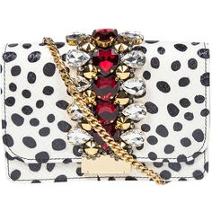 Gedebe Snake Skin & Polka Dot Print Clutch Bag ($692) ❤ liked on Polyvore featuring bags, handbags, clutches, purses, bolsas, the label monster, white polka dots, snake handbags, white clutches and snake purse