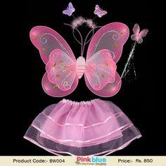 Children Kids Glitter Fairy Wings Fancy Dress Toddler Butterfly Wings Green