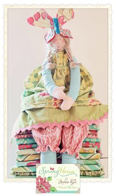 Fun shabby chic rabbit using Spring House by Moda