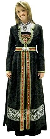 Norwegian folk costume from Hardanger. I LOVE Hardanger embroidery -- it's so beautifully geometric. Folk Clothing, Historical Clothing, Costume Ethnique, Costumes Around The World, Ethnic Dress, We Are The World, Lofoten, Folk Costume, World Cultures