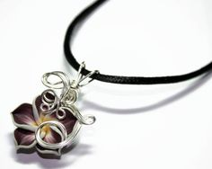 Perfume Pendant - PREMADE - Aromatherapy Wire Wrapped Brown Polymer Clay Tropical Plumeria Flower $24.00