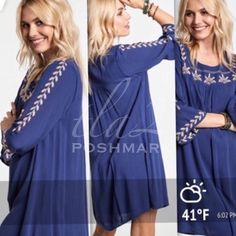 """EMBROIDERED MINI BELL SLEEVE TUNIC OR DRESS 4th RESTOCK! This darling dress is so comfortable! Beautiful, rich indigo color with intricate, champagne embroidery on the yoke and sleeves. Made of rayon, polyester and spandex. Equally as cute as a tunic or a dress! NWOT PLEASE DO NOT BUY THIS LISTING!            I will personalize one for you.                                       ♦️XL: Bust 50""""♦️1X: Bust 51""""♦️2X: Bust 52"""" tla2 Dresses"""