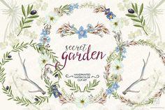Watercolor wildflowers wreaths olive