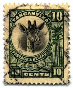 Antique stamp from Tanganyika. Tanganyika and Zanzibar combined to make the modern country of Tanzania.