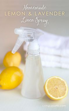 Homemade Lemon & Lavender Linen Spray with Young Living Essential Oils. Easy Homemade Lemon & Lavender Linen Spray with Essential Oils. Make your sheets, towels and home fresh smelling with a recipe for organic air freshener. http://LivingLocurto.com