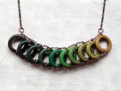 Wood Geometric Necklace // MOJITO // Boho-Chic Jewelry // Green // Green Hand-Painted Necklace // Green Minimal Jewelry // Modern Necklaces on Etsy, $50.43