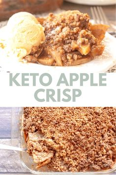 This Keto Apple Crisp is easy to make, has to perfect amount of fall spices, and is positively delicious. With my special ingredient, you can enjoy apple crisp and still keep it low carb! Only 5 net carbs per serving. This delightful dessert has just 6 ingredients and is gluten-free, sugar-free, and grain-free.This low carb apple crisp doesn't have a single apple, Sugar Free Desserts, Apple Desserts, Low Carb Desserts, Keto Recipes, Dessert Recipes, Joy Filled Eats, Cooked Apples, Apple Filling, Apple Crisp Recipes