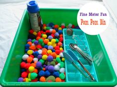 Pom pom bin. Easy to set up. great for fine motor skills practice and basic math concepts like sorting.