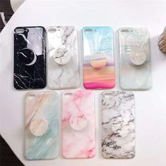 Fashion Glossy Silicone Marble Case For iphone 7 Case Round Stand Holder Phone Case For iphone 6 X 7 8 Plus Soft TPU Cover - DIY Phone Accessories Iphone 6 Phone Cases, Diy Phone Case, Cute Phone Cases, Mobile Phone Cases, Iphone Mobile, Iphone Case Covers, Funda Iphone 6s, Coque Iphone 6, Iphone 7 Plus