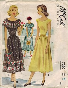 1940s McCall 7220 Vintage Sewing Pattern Junior Afternoon Dress Size 13 Bust 31