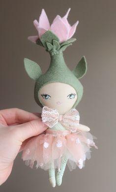 Flower handmade doll by liberty lavender dolls