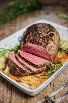 Rinderbraten mit Senfkruste, Rezept Rinderbraten, Rindsbraten, Klassischer Braten, Braten aus dem Ofen, Rindsbraten Kräuterkruste