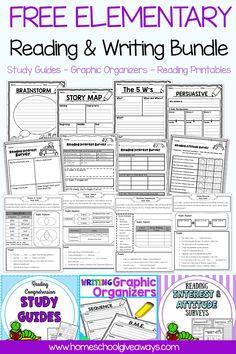 FREE Elementary Reading & Writing Bundle - study guides, graphic organizers, and reading comprehension printables Ends 4 Teaching Writing, Writing Skills, 1st Grade Writing Prompts, Kindergarten Writing Activities, Fourth Grade Writing, Writing Folders, Kindergarten Curriculum, Writing Prompts For Kids, Homeschooling Resources