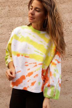 Glastonbury Festival Fashion Inspiration. hippie, bohemian, boho, 80s 90s BOXY tie dye CROPPED sweatshirt bright by ZiaVintage