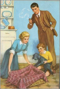 'Mick, The Disobedient Puppy' - Ladybird book,1952 - should he be smoking near that child? Nice dresser though!