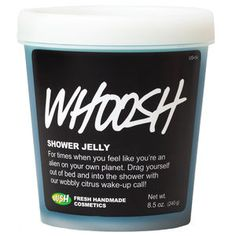 Whoosh- Looking for the drive to help you take on the world? Let Whoosh shower jelly sort out your cloudy, sleepy, head and give you a boost to wake you up. Our triple-citrus wobbly wash gets you squeaky clean with its invigorating and energizing blend of fresh lemon, lime, and grapefruit juices. And just in case your mental faculty is really struggling, we've thrown in revitalizing rosemary and balancing geranium to kick-start your senses even more.