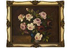 Roses in Blue Vase on OneKingsLane.com