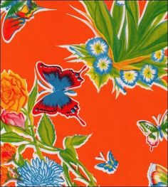 Oilcloth By The Yard - Edgars Butterfly Orange Oilcloth Oilcloth Tablecloth, Floral Tablecloth, Tablecloths, Custom Woodworking, Woodworking Projects Plans, Sophisticated Nursery, Detailed Drawings, Pattern Wallpaper, Art Lessons