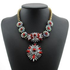Luxury Shourouk flower Fashion gold plated Chain Choker Necklace ,new flower Pendant statement Necklace for women A054red $13.66