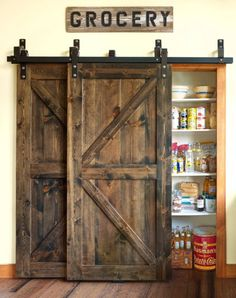 33 Ideas For Home Living Room Rustic Barn Doors Barn Door Pantry, Diy Barn Door, Diy Door, Diy Home Decor For Apartments, Farmhouse Furniture, Wood Furniture, Furniture Ideas, Farmhouse Stairs, Bedroom Furniture