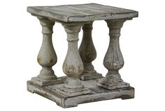 Carved out of pine, distressed, this balustrade-inspired #table