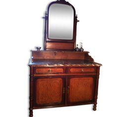 coiffeuse ou commode ancienne plaque de marbre bois mat riau marron bon tat art d co. Black Bedroom Furniture Sets. Home Design Ideas