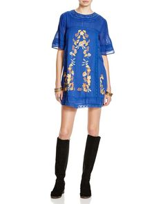 Free People Perfectly Victor Embroidered Dress | Cotton | Hand wash | Made in India | Round neck, elbow-length bell sleeves, crochet insets | Pintucked front yoke and sleeves, contrast embroidery  | B
