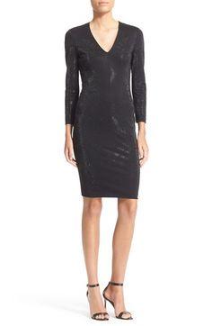 JUST CAVALLI Embellished V-Neck Sheath Dress. #justcavalli #cloth #