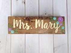 Teacher name sign - desk sign - teacher gift - purple and aqua flowers - hand painted wood sign - teacher name plaque - classroom decor by LillouHandmade on Etsy https://www.etsy.com/listing/489349237/teacher-name-sign-desk-sign-teacher-gift