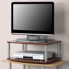 """Designs2Go No Tools 2 Tier Cherry Swivel Stand For TVs & Monitors Up To 20"""" New #DesignstoGo"""
