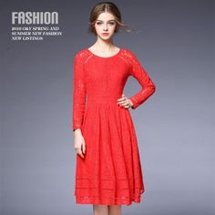 Buy Ozipan Long-Sleeve Lace Midi Dress at YesStyle.com! Quality products at remarkable prices. FREE WORLDWIDE SHIPPING on orders over US$35.