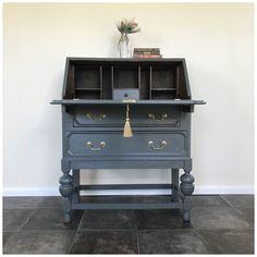 Vintage Writing Desk, Writing Bureau, Vintage Desks, Furniture Making, Home Furniture, Restoring Furniture, Desk Makeover, Furniture Makeover, Recycled Furniture