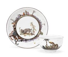 An extremely rare Meissen teabowl and saucer from the 'Black- and Gold-Striped' service, circa 1735