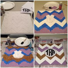 DIY paint and glitter chevron monogram canvas