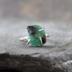 Uncut Raw Rough Green Emerald Ring - Sterling Silver Solitaire  -  Artisan Jewellery - Handmade and Designed by A Second Time. $250.00, via Etsy.