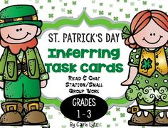 Do you need some new material for your literacy stations?Here is a cute and fun St. Patrick's themed activity for practicing inferring.(fiction)You will get 20 inferring cards with Lucy and Lucky Leprechaun as the stars.  The set comes with a recording sheet for accountability.For more inferring practice, visit my TPT store.Kids just can't get enough practice with this skill.