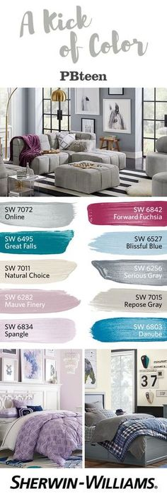 This Fall/Winter 2016 color palette from @pbteen pairs soft, dreamy colors with bold statement hues. Start with a perfect neutral like Natural Choice SW 7011 or Repose Gray SW 7015, then add a kick of color with attention-catching Forward Fuchsia SW 6842 or Great Falls SW 6495. Whatever colors you love, they'll coordinate perfectly with Pottery Barn's latest collections of furniture and accessories.