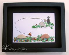 Christmas Gifts For Him Fly Fishing Pebble Art  by SticksnStone