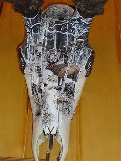 painted deer skulls, European Skulls from your trophy Painted Animal Skulls, Deer Skull Art, Antler Art, Skull Painting, Pour Painting, Deer Decor, Bone Carving, Animal Paintings, Deer Heads
