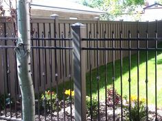 Using Trex Posts with Ornamental Fencing - Trex Fencing, the Composite Alternative to Wood & Vinyl Metal Fence Posts, Front Fence, Fence Doors, Fence Panels, Trex Fencing, Landscape Timbers, Backyard Fireplace, Wrought Iron Fences, Building A Fence