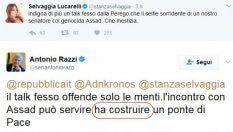 Lucarelli contro Razzi per il selfie con Assad: il senatore risponde con lo strafalcione